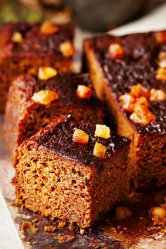 A wonderfully sticky & sweet ginger cake - the ideal afternoon treat for autumn. Find this recipe, & many more seasonal recipes, at Tesco Real Food. Cake Recipes At Home, Tray Bake Recipes, Baking Recipes, Baking Ideas, Dessert Recipes, Ginger Loaf Cake, Sticky Ginger Cake, Bonfire Night Food, Food Porn