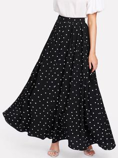 Online shopping for Polka Dot Swing Maxi Skirt from a great selection of women's fashion clothing & more at MakeMeChic.COM.