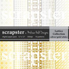 Metallic Lattice Weave Digital Patterns by ScrapsterbyMHdesigns, $4.50