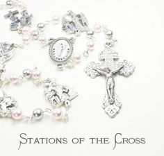 STATIONS of the CROSS CHAPLET Rosary with Palest Pink and Light Grey Swarovski Pearls and Pardon Crucifix
