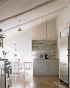 Love the slope of ceiling, the mercury glass pendant lights, open shelving, all white and light and feels like home