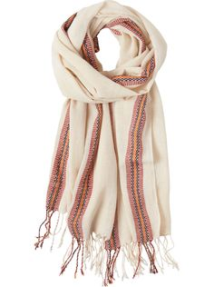 Textured, quite gauzy, cotton scarf with a woven stripe border. Fringed at ends.