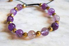 Amethyst and Gold Luster Hematite Bracelet- Women's Bracelet- Adjustable Macrame Bracelet-Pisces Birthstone Bracelet-Bohemian Style Jewelry by MelannySilverCompany on Etsy https://www.etsy.com/listing/544515374/amethyst-and-gold-luster-hematite