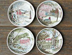 Set of Vintage Seasonal Johnson Brothers Butter Pats Transferware