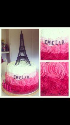 Pink Ombré Rosette Eiffel Tower cake.