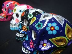 4 day of dead Sugar Skulls, Mexican pottery, Talavera, catrina, Dia De Muertos