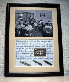Métier d'enseignant tableau rétro écrit à la plume de style enfantin avec photo ancienne et plumes : Décorations murales par redactions-d-autrefois