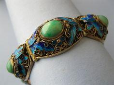 Vintage 1950s Chinese Sterling Silver Filigree Jade Butterfly Enamel Bracelet | eBay