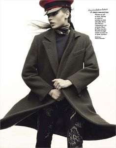 Dries Van Noten coat and pants, Marc Jacobs hat. Model: Mina Cvetkovic.