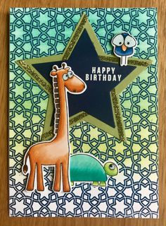 Simon Says Stamp – Stacking Animals, Hero Arts – Floral Tile Bold Background, Copic Markers, Distress Oxides . Stamp Card, Distress Oxides, Animal Cards, Simon Says Stamp, Hero Arts, Copic Markers, Giraffe, Birthday Cards, Tile