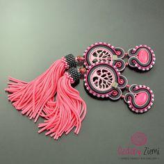 Pink gray fuchsia tassel earrings 'Bonsai', oriental extra long pink tassel jewelry, long tassel fringe boho statement beaded pink earrings by OzdobyZiemi on Etsy