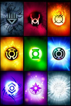 Black=Death, Red=Rage, Orange=Greed, Yellow=Fear, Green=Will, Blue=Hope, Indigo=Compassion, Violet=Love, White=Life