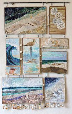 Original fiber art quilt by Eileen Williams Beachcomber. Original fiber art quilt by Eileen Williams Fiber Art Quilts, Beach Quilt, Landscape Art Quilts, Needle Felted, Felting, Thread Painting, Learn Art, Quilted Wall Hangings, Hanging Wall Art