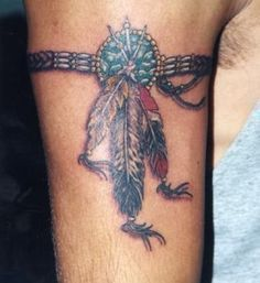 Grey Ink Native Feathers Armband Tattoo                                                                                                                                                                                 More