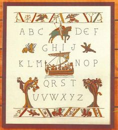 Alphabet based on the Bayeux Tapestry Embroidery stitch kit