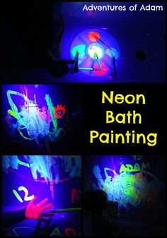 "Adam loves painting in the bath. As day 7 of our 31 Day Sensory Play Challenge is ""sensory fun in the bath"" we decided to try neon bath painting!"