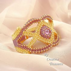 Beadwoven Lemon and Lilac OOAK Cuff Bracelet with Swarovski rivoli