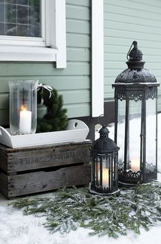 Christmas in a beautiful cottage in Finland by Krista Keltanen Photography Swedish Christmas, Rustic Christmas, Importance Of Art, Shabby, Types Of Lighting, Outdoor Christmas Decorations, Candle Lanterns, Christmas Projects, Tea Lights