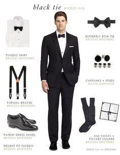 smoking - čierny alebo polnočne modrý šerpa - mala by ladiť s motýlikom nohavice s lampasmi biela košeľa s klasickým golierom alebo stojačikom, gombíky sú prekryté légou alebo sú ozdobné, zladené s manžetovými gombíkmi, dvojitá manžeta (tzv. francúzska) čierny motýlik (odtiaľ označenie black tie) čierne lakované topánky