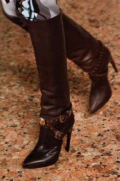 Emilio Pucci Black Boots Buckled Belts Fall 2014 RTW #Shoes #Heels
