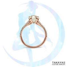 Custom Sailor Moon inspired 14K rose gold and accent diamond engagement ring for Adam and Anna by Takayas Custom Jewelry. Takayas built the ring's setting out of four crescent moons; each of the prongs form the moons' tips. He also subtly incorporated a wing shape into the bottom of the ring's shoulder in reference to the wing imagery that is prevalent throughout the anime.