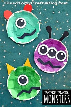 Paper Plate Monster Kid Craft Idea For Halloween # crafts preschool art projects Space Crafts For Kids, Halloween Crafts For Toddlers, Art For Kids, Halloween Art, Summer Crafts For Preschoolers, Arts And Crafts For Kids Toddlers, Back To School Crafts For Kids, Halloween Decorations, Outer Space Crafts