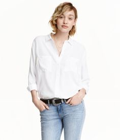 Viscose Shirt | White | Ladies | H&M US