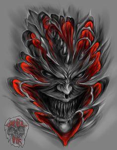 Sabbak- a dybbuk necromancer and member of the silver skull cult Evil Tattoos, Skull Tattoos, Body Art Tattoos, New Tattoos, Sleeve Tattoos, Tattoos For Guys, Biomech Tattoo, Demon Tattoo, Skull Tattoo Design