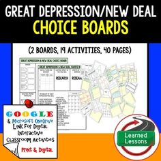 Great Depression New Deal Choice Boards & Activity Pages G