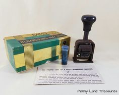 Bates Numbering Machine Multiple 4 Movement Manufacturing Co Boxed Retro Office Supply Rusty Penny Lane Treasures