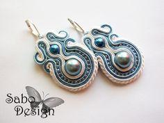 Ooak earrings white, blue, beautiful soutache embroidery bridal jewelry pearl wedding everyday earrings elegant gift for her under 80. $54.00, via Etsy.