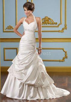 Simple Halter A line Lace up Satin Court Train Wedding Dresses