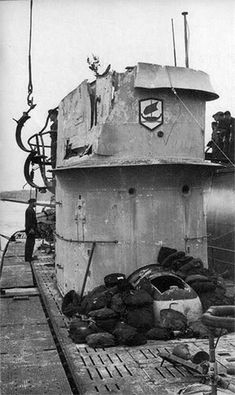 U-161 with damaged conning tower, or sail, as it's called now.