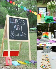 Art Party with Lots of Ideas via Kara's Party Ideas | Kara'sPartyIdeas.com #Art #Coloring #Painting #Rainbow #Ideas #Supplies