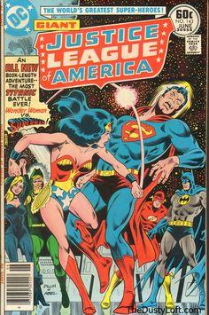 Justice League America Comic # 143 Publisher: DC Comics Date: June 1977 Condition: Fine+/VF  Description: A Tale of Two Satellites! An all new book-length adventure - The Most Titanic Battle Ever! Wonder Woman Vs Superman!