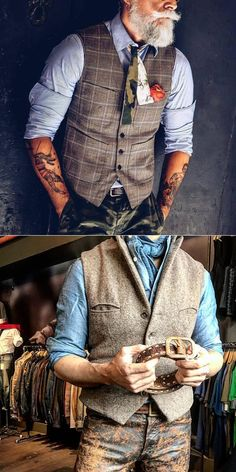 Vintage Mens vest - Fashion mens clothes,stylish mens vest , trendy style & exquisite workmanship, perfect for your gen - Mode Old School, Trendy Fashion, Mens Fashion, Trendy Style, Vintage Fashion, Fashion Art, Spring Fashion, Fashion Trends, Mode Hipster