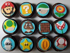 Super Mario Brothers Nintendo Cupcakes , originally uploaded by clevercupcakes . More yummy videogame treats but this time, these tasty mors. Cupcakes Cool, Fondant Cupcakes, Chocolate Cupcakes, Cupcake Cakes, Cupcake Toppers, Fondant Icing, Fondant Toppers, Themed Cupcakes, Cupcake Ideas