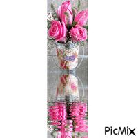 water reflection Water Reflections, Glass Vase, Roses, Decor, Decorating, Pink, Rose, Inredning, Interior Decorating