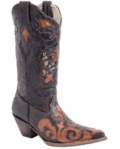 Women's Ladies Cognac Vintage Lizard Overlay Boot - C2107 Taking donations now!!