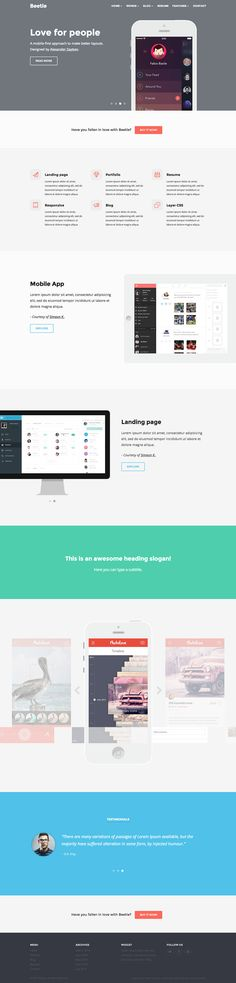 Beetle is a powerful responsive & parallax HTML5 template for landing pages, blog and resume