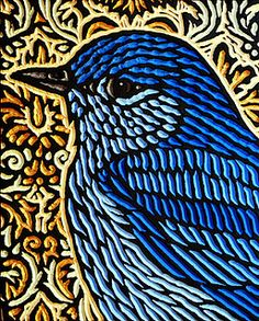 bluebird by Lisa Brawn Woodcut Art, Linocut Prints, Stencil Painting, Wood Engraving, Wildlife Art, Woodblock Print, Bird Art, Wood Carving, Pet Birds