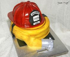 Firefighter Helmet & Hose Cake | Shared by LION