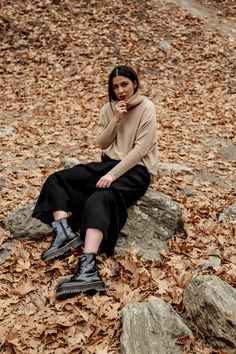 77023081cfc fall wardrobe staples by Stella Asteria - wearing turtleneck sweater with  knit skirt and Dr Martens Jadon boots