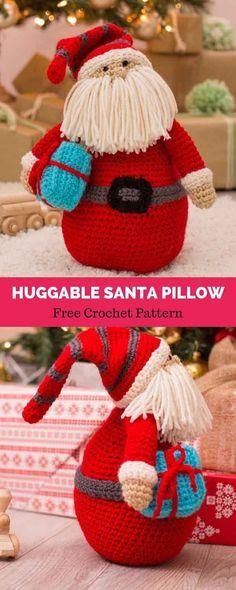 Baby Knitting Patterns Crochet Huggable Santa Pillow - migurumi Crochet Christmas S. Beau Crochet, Crochet Santa, Holiday Crochet, Free Crochet, Knit Crochet, Free Christmas Crochet Patterns, Crochet Rabbit, Crochet Pillow, Baby Knitting Patterns