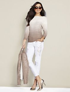 Shop Bateau-Neck Cable-Knit Sweater - Ombré. Find your perfect size online. New  York   Company b4b96a5ff
