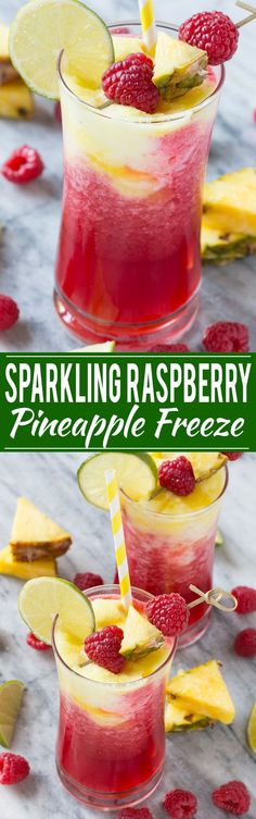 This sparkling raspberry pineapple freeze is a festive and refreshing drink that takes just minutes to put together.This sparkling raspberry pineapple freeze is a festive and refreshing drink that takes just minutes to put together. Refreshing Drinks, Summer Drinks, Fun Drinks, Healthy Drinks, Cold Drinks, Party Drinks, Healthy Shakes, Mixed Drinks, Healthy Desserts