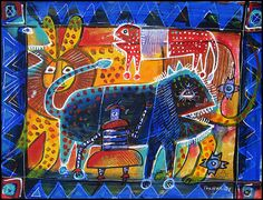 Blue Lion by Moroccan artist Eric Tournaire