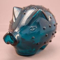Vintage 1960s Danish Holmegaard Blue Glass Piggybank by Jacob Bang. Gone to a new home