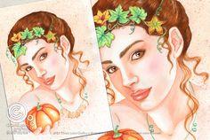 Mesi Illustrati: Ottobre #visodidonna #ritratto #illustrazione #bellezza #fiori #frutti #foglie #mesidellanno