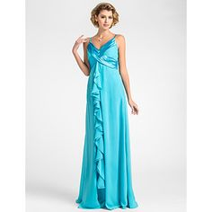 vaina / columna v-cuello palabra de longitud gasa madre del vestido de la novia - EUR € 81.67